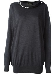 Lanvin Vintage Pearl Embellished Collar Sweater Grey
