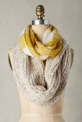 Anthropologie Patched Plaid Infinity Scarf Gold