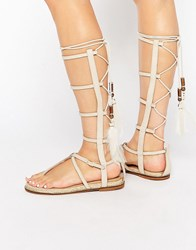 Aldo Capro White Caged Tie Up Gladiator Sandals Ice