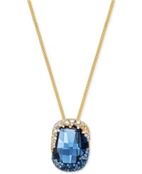 Swarovski Gold Tone Large Blue Crystal And Pave Pendant Necklace