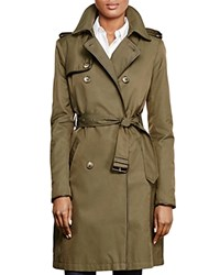 Ralph Lauren Leather Trim Trench Coat Litchfield Loden