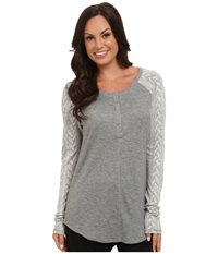 P.J. Salvage Cozy Cable Sweater Heather Grey Women's Clothing Gray