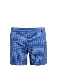 Danward Polka Dot Print Swim Shorts Blue Multi