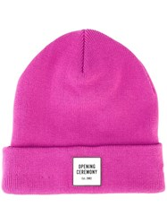 Opening Ceremony Logo Patch Beanie Pink Purple