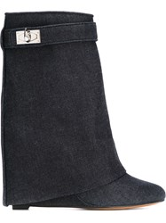 Givenchy 'Shark Lock' Denim Boots Blue