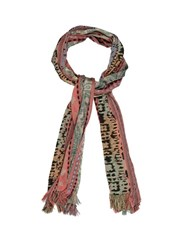 Etro Multi Motif Striped Jacquard Scarf Pink Multi