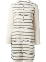 Tory Burch Striped Coat Nude And Neutrals