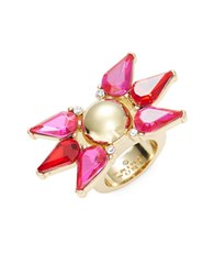 Trina Turk Colorful Starburst Crystal Teardrop Cocktail Ring Gold