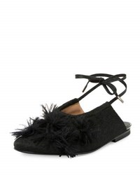 Dries Van Noten Faux Feather Embellished Ankle Wrap Flat Black