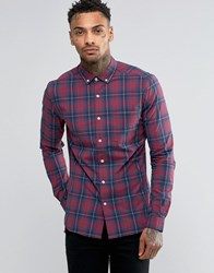 Asos Skinny Check Shirt In Burgundy With Long Sleeves Burgundy Red