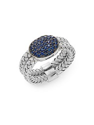 Effy Sapphire And Sterling Silver Woven Ring Silver Blue