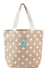 Cathy's Concepts Personalized Polka Dot Jute Tote White White Z