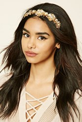 Forever 21 Floral Leaf Headband Gold
