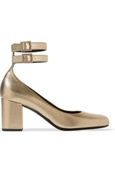 Saint Laurent Babies Metallic Textured Leather Pumps Gold