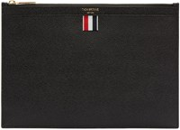 Thom Browne Black Leather Zip Pouch