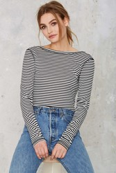 Nasty Gal Scouted Open Back Bodysuit Stripes