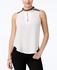 Xoxo Juniors' Embellished High Low Top Ivory