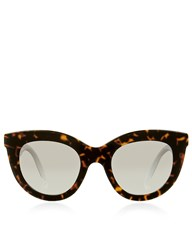 Victoria Beckham Eyewear Amber Tortoiseshell Layered Cat Eye Sunglasses Brown