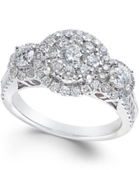 Macy's Diamond Three Stone Halo Engagement Ring 1 1 2 Ct. T.W. In 14K White Gold