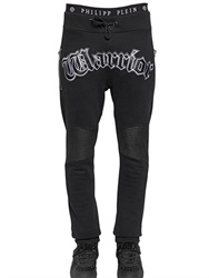 Philipp Plein Warrior Patched Cotton Jogging Pants