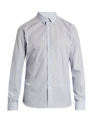 Valentino Button Cuff Multi Striped Cotton Poplin Shirt Blue Multi
