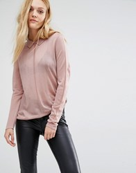 Y.A.S Sadie Fine Gage Jumper With Collar Woodrose Pink