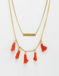 Made Layered Tassel Necklace Gold