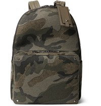 Valentino Camouflage Print Felt Backpack Green