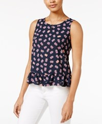 Maison Jules Ruffle Hem Top Only At Macy's Navy Stone Combo