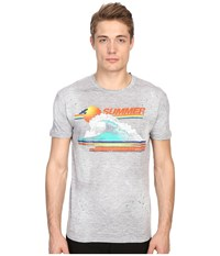 Dsquared Chic Dan Fit Vintage Rainbow Tee Grey Melange Men's T Shirt Gray