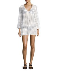 Milly Mykonos Mesh Netting Coverup Tunic White