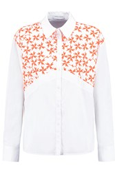 Tanya Taylor Ryan Embroidered Cotton Blend Poplin Shirt White