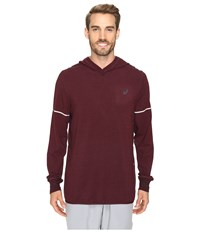 Asics Lightweight Fleece Hoodie Rioja Red Heather Men's Sweatshirt