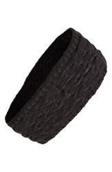 Women's Echo Braid Knit Headband With Fleece Lining Black
