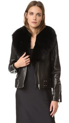 Nour Hammour Nada Shawl Collar Leather Jacket Black