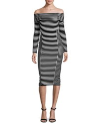Derek Lam Striped Off The Shoulder Midi Dress Soft White Black Soft White Multi