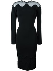 David Koma Sheer Panel Dress Black