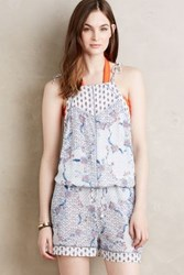 Anthropologie Isola Indienne Silk Romper Sky L Swimwear