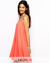 Native Rose Neon Slip Dress With Racer Back Coral