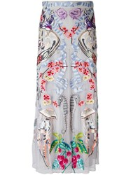 Temperley London Embroidered Tulle Skirt Grey