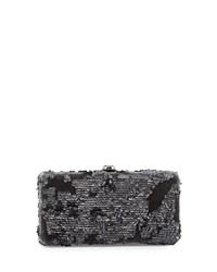 Deux Lux Sequin And Velvet Box Evening Clutch Bag Gray