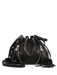 Linea Pelle Ryan Drawstring Leather Bucket Bag Black