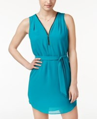 Amy Byer Bcx Juniors' Belted Front Zip A Line Dress Turquoise