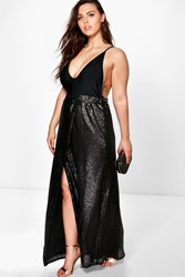 Boohoo Isabella Wrap Sequin Maxi Skirt Black