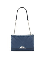 Karl Lagerfeld Gigi Pebbled Leather Shoulder Bag Navy Blue