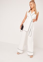 Missguided Pyjama Style Wide Leg Trousers White White