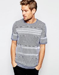 Asos Knitted Tshirt With All Over Aztec Black And White Grey