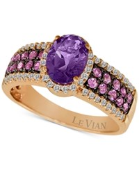 Le Vian Amethyst 1 Ct. T.W. Pink Sapphire 1 3 Ct. T.W. And Diamond 1 4 Ct. T.W. Ring In 14K Rose Gold