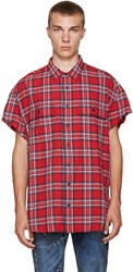R 13 Ssense Exclusive Red Check Cut Off Shirt