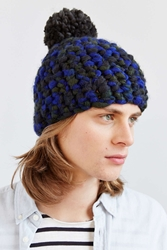 Urban Outfitters Chunky Knit Marled Pompom Beanie Blue Multi